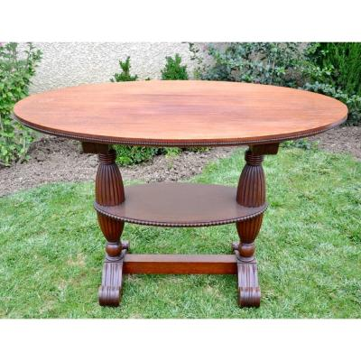 Oval Table Or Pedestal In Solid Mahogany