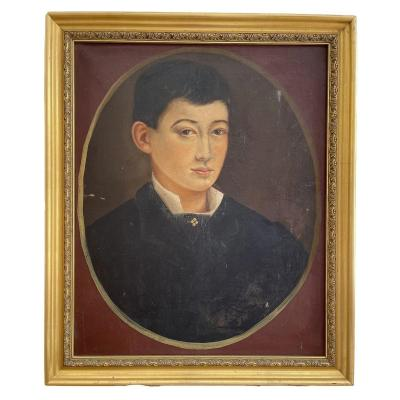 Oil On Canvas, Portrait Of A Young Boy