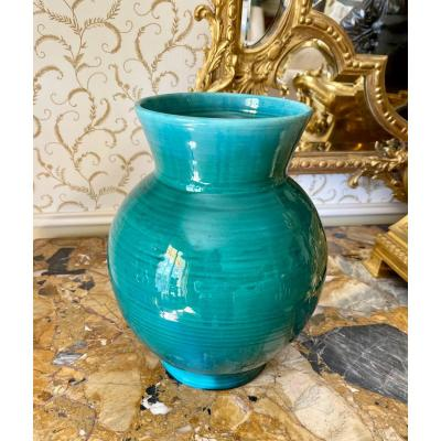Accolay - Green Glazed Earthenware Vase