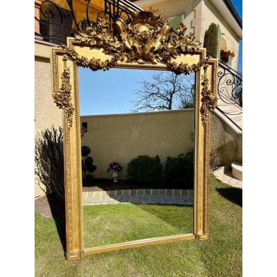 Large Gilt Wood Mirror Style Louis XVI / Napoleon III