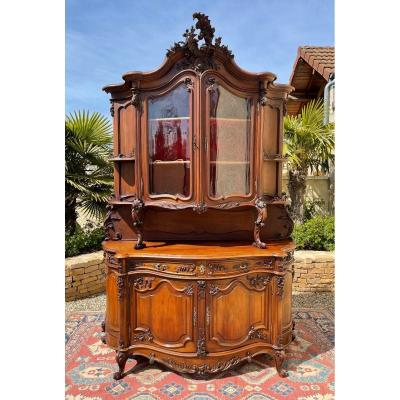Walnut Curved Cabinet Style Louis XV