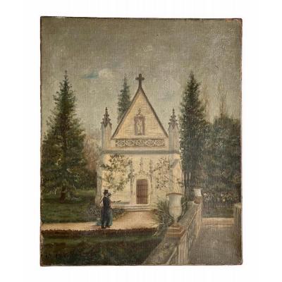 Gaston Villechanaux 1891 - Charming Walk In A Parc, Oil On Canvas