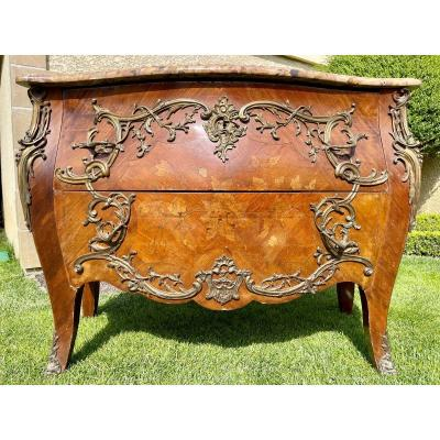 Commode Marqueterie & Bronze Style Louis XV