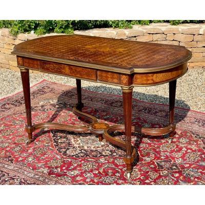 Table de Milieu Marqueterie & Bronze Époque Napoléon III