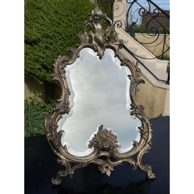 Miroir à Poser en Bronze Argenté
