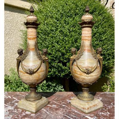 Paire de Vases en Onyx & Bronze Napoléon III