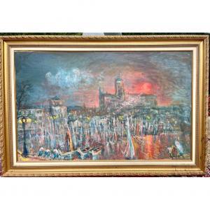 Raffy Le PERSAN - Huile sur bois «Le Vieux Port de Saint Raphael» 2003