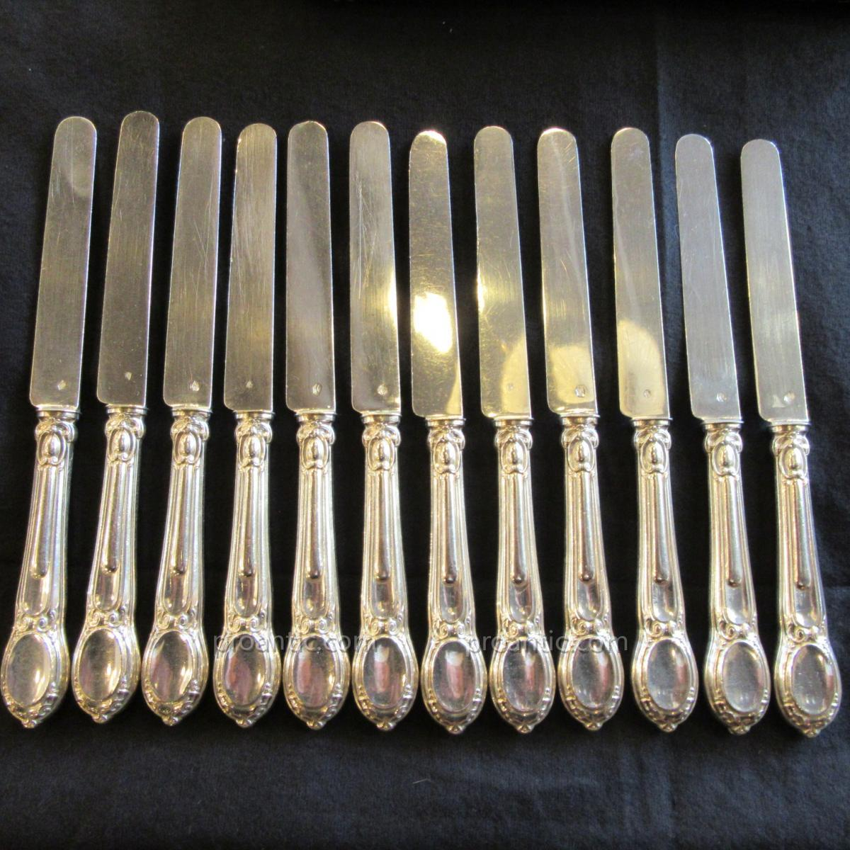 12 Silver Knives Minerva Orfevre F.babou Around 1885