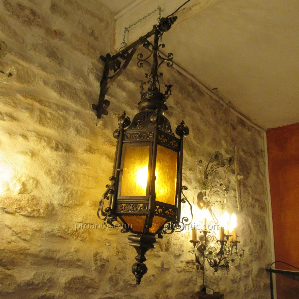 Lantern Wrought Iron 19th Gas