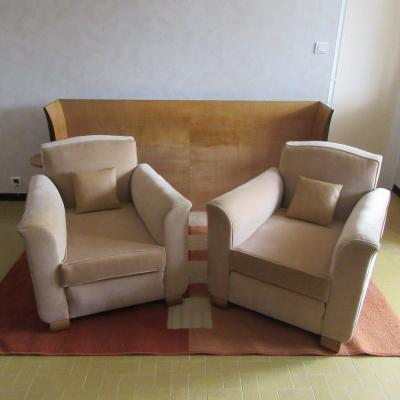 Pair Art Deco Style Armchairs In Light Beige Velvet Fabrics
