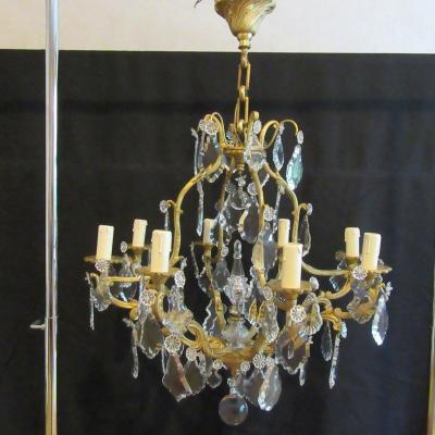 Cage Chandelier Gilt Bronze And Glass Tassels 8 Lights