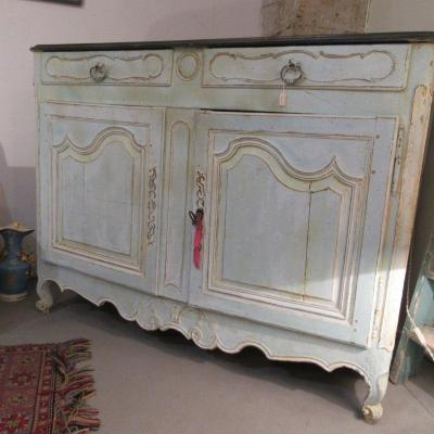 Sideboard Or Chest Of Drawers 18th Time Nimoise Region Old Water Green Color Patina