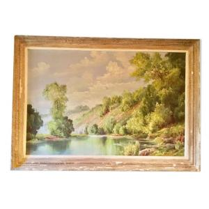 Important Oil On Canvas Signed Roger Houck XXth