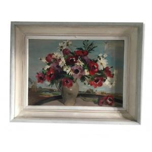 Huile Sur Isorel Signée Girol. Bouquet D'anémones