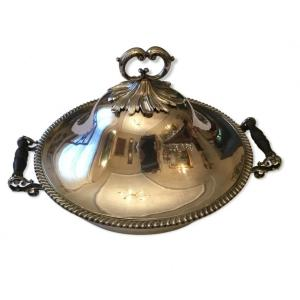 Superb Covered Dish In Silver Metal Louis XV Style