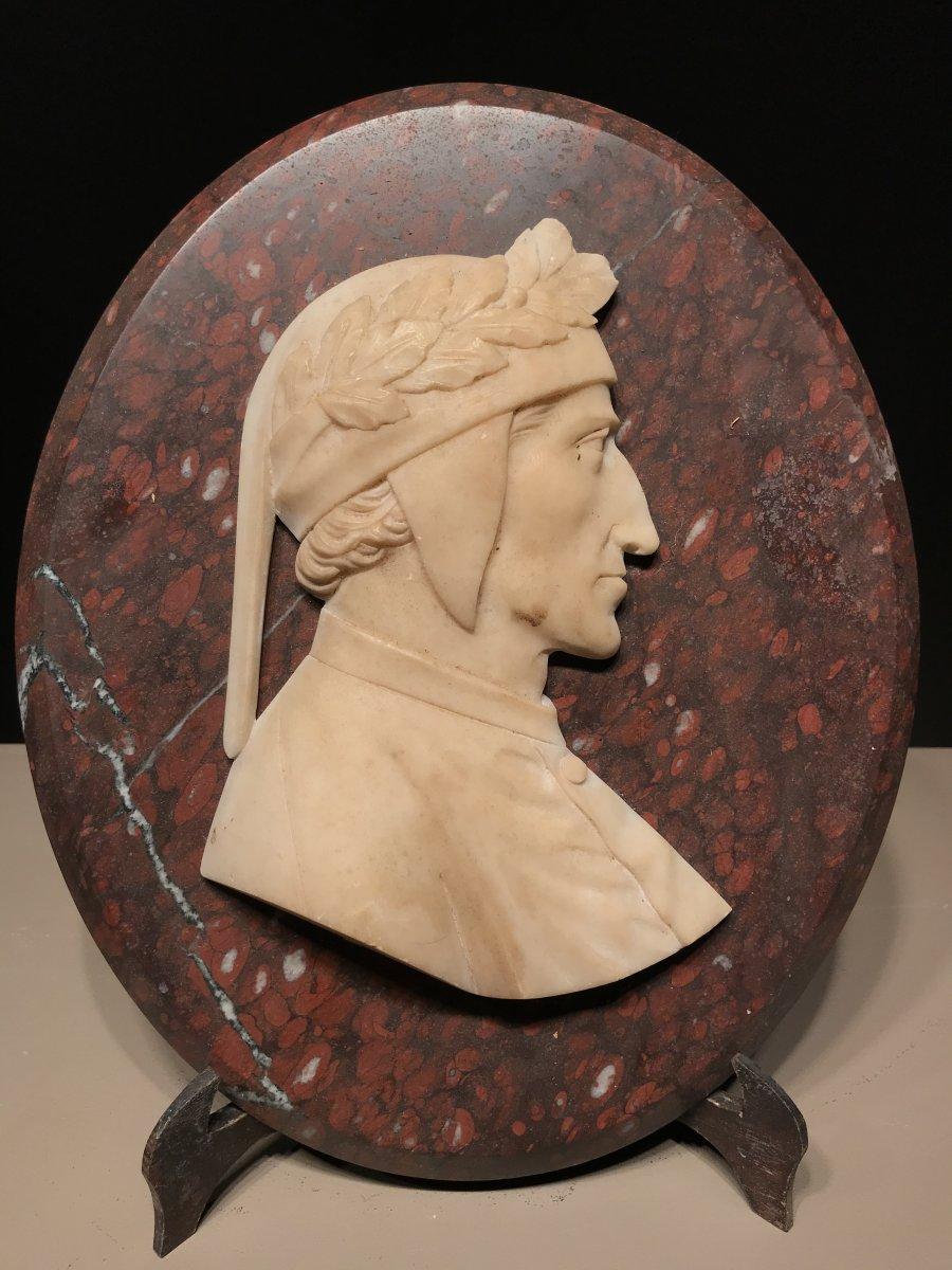 Bas Relief Du Profil De Dante, Albâtre Et Marbre Rouge Griotte, Italie, Ca. 1850.