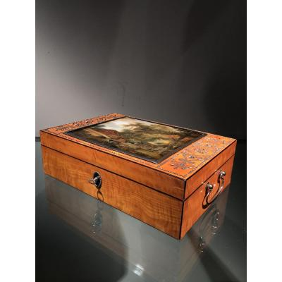 Box In Lemonwood And Cut Steel With églomisé, Vienna, Ca. 1810 -1830.