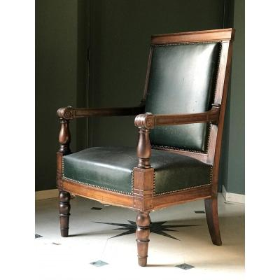 Large Empire Mahogany Armchair By Jacob-desmalter, France, Ca. 1815.