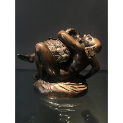 J.-J. Feuchère (1807-1852),  Leda Et Le Cygne, Sculpture En Bronze, France, Ca. 1840.