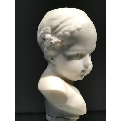 Bust Of Child In Cararre Marble, France, Napoleon 3 Period.