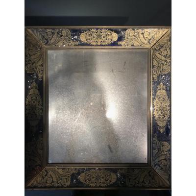Miroir Avec Bordures En Verres églomisés, époque Charles X.