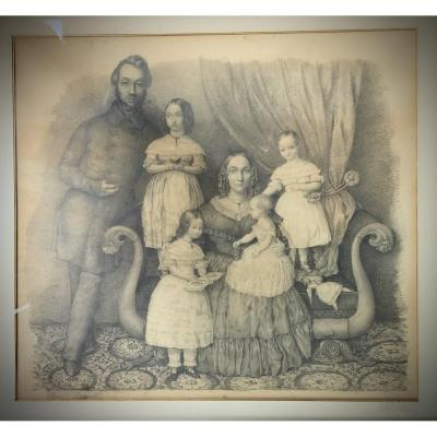 Paul Haesaert, Family Portrait, Pencil Drawing, Around 1845.