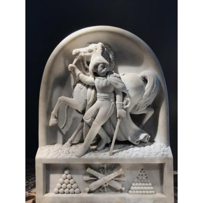 A. Desenfans (1845-1938), Le Cuirassier 1814, High Relief In Carrara Marble, Dated 1870.