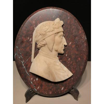 Bas Relief Of Dante, Alabaster And Red Griotte Marble, Italy, Ca. 1850.