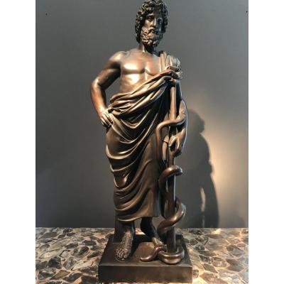 Patinated Copper Sculpture, Representing Aesculapius, Germany, Around 1860.