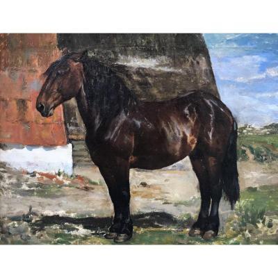 Alfred Verwee (1838-1895), Cheval, Huile Sur Toile Marouflée, école Belge Vers 1870.