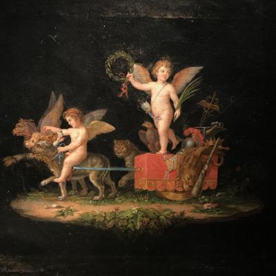 Huile Sur Toile, Entourage De Michelangelo Maestri, Amour, Style Pompéien, Début 19ième.