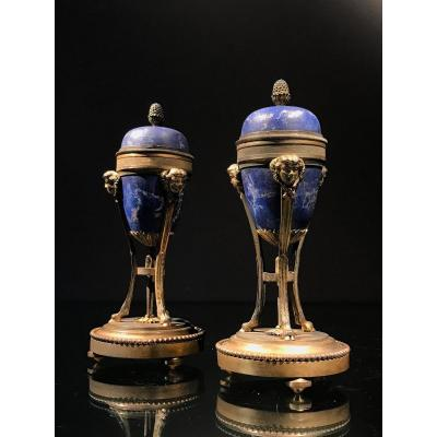 Pair Of Cassolettes In Gilt Bronze And Faux Lapis-lazuli, Louis XVI, Early 19th.