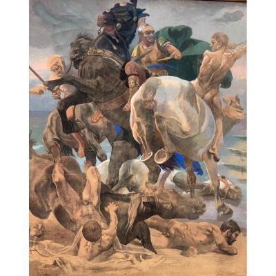 Christian Speyer, 1855-1929, La Bataille Des Celtes, Allemagne, Ca. 1920.