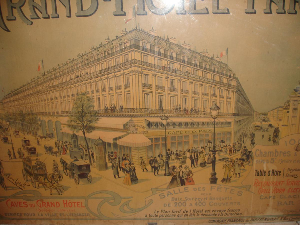 Affiche Ancienne Du Grand  Hotel De Paris