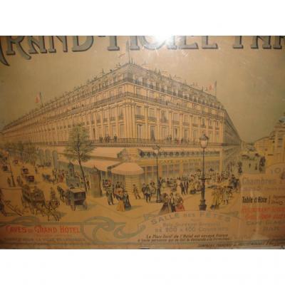 Affiche Ancienne Du Grand  Hotel De Paris