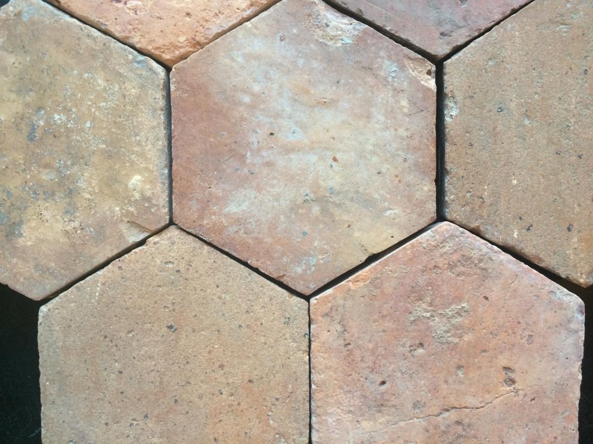 Lot Terracotta Hexagonal Tiles - 18th C.