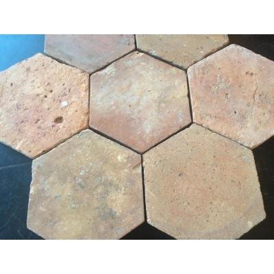 Lot Terracotta Hexagonal Tiles - 18th C.