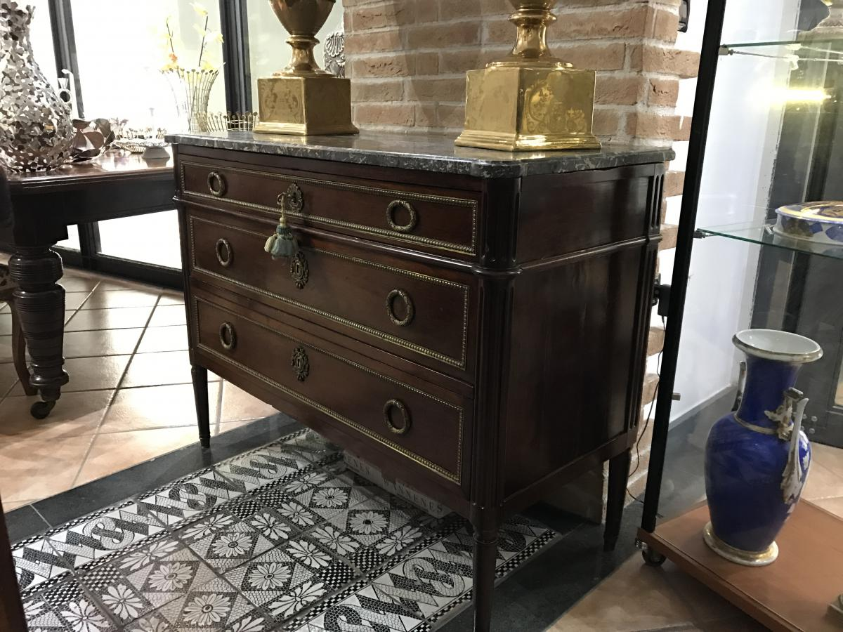 Commode Louis XVI En Acajou France Fin Du XVIII Sec
