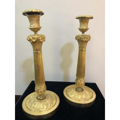 Pair Of Candlesticks In Gilt Bronze France Empire Period
