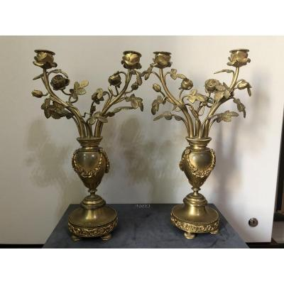 Pair Of Torches In Gilt Bronze France XIX Sec.