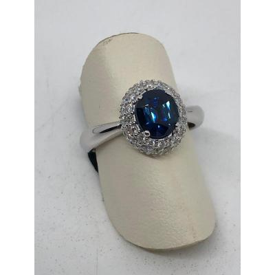 Sapphire Ring In 18 Kt White Gold
