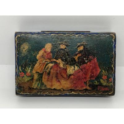 Box In Lacquered Wood Italy XIX Sec.
