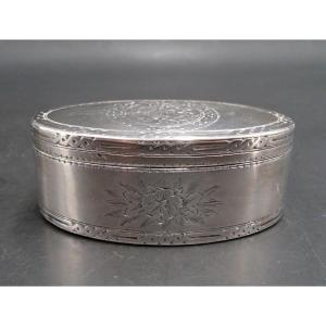 18th Century Oval Snuffbox In Sterling Silver