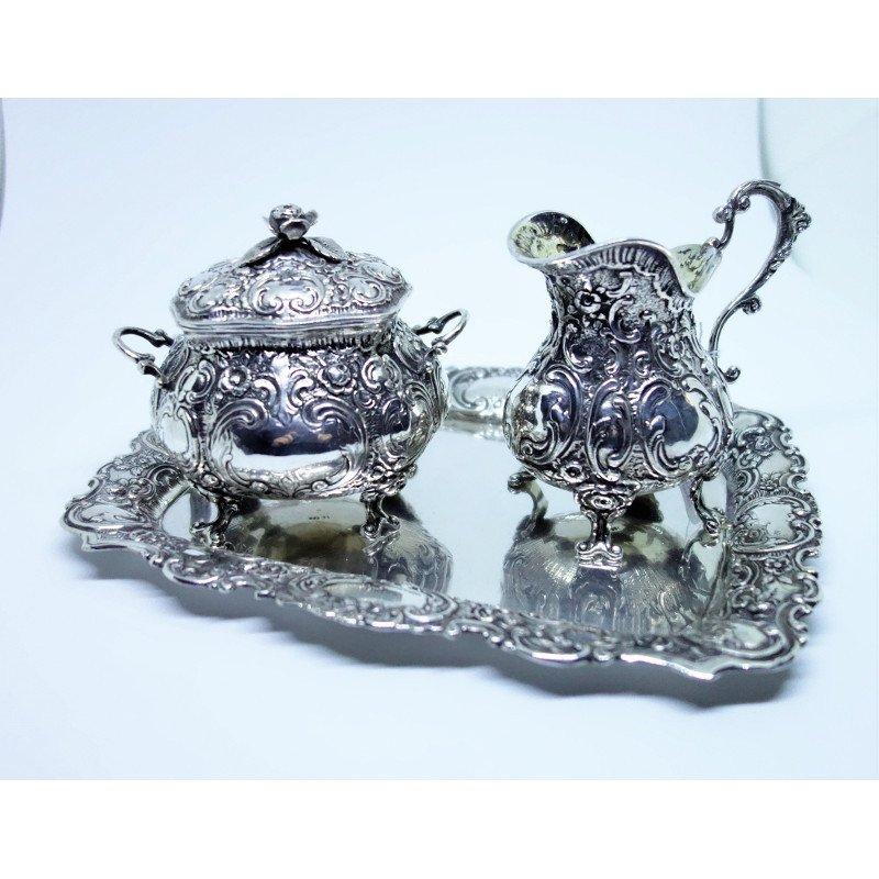 Coffee Or Tea Service, Three Pieces, Silver.