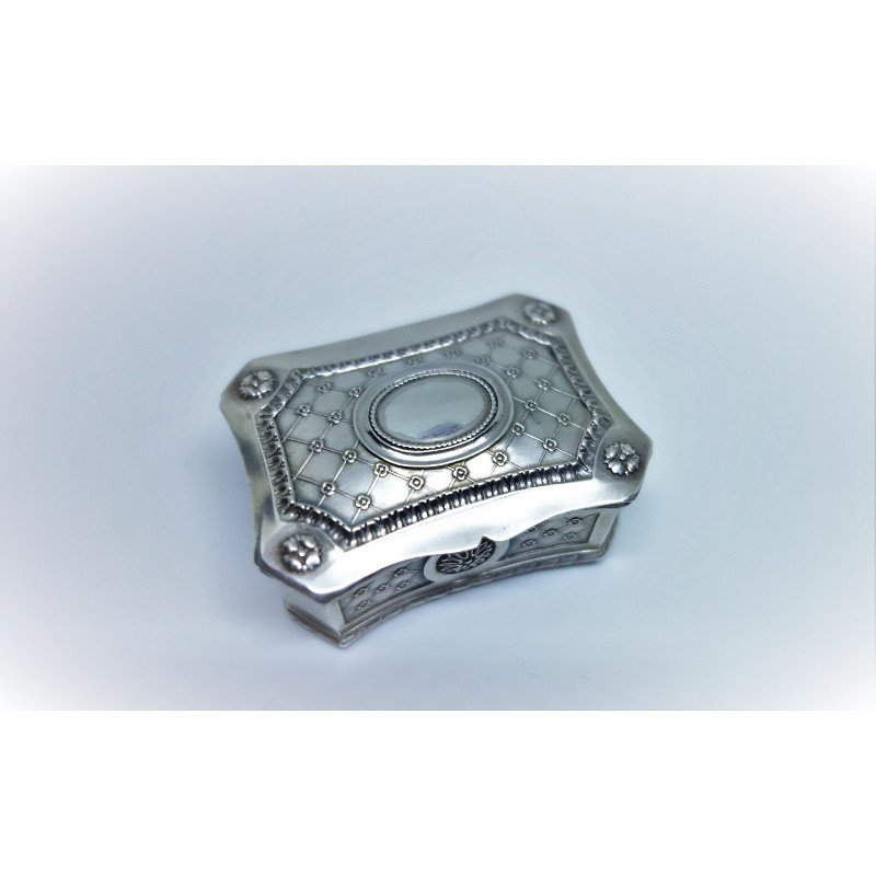 Superb Small Silver Box In Octagonal Shape.