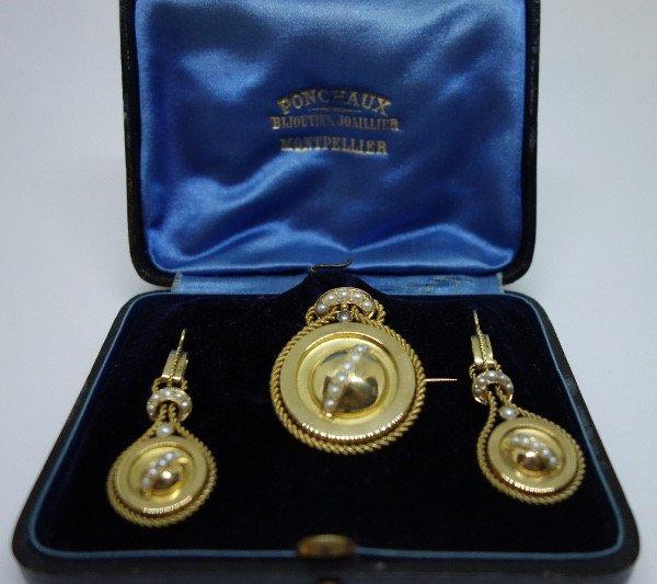 Half-set Gold And Half-fine Pearls, 19th Century.