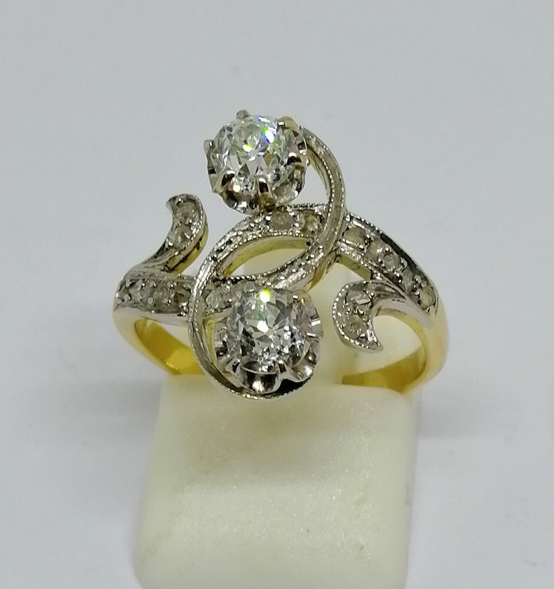 You And Me Ring With Diamonds, Art Nouveau.