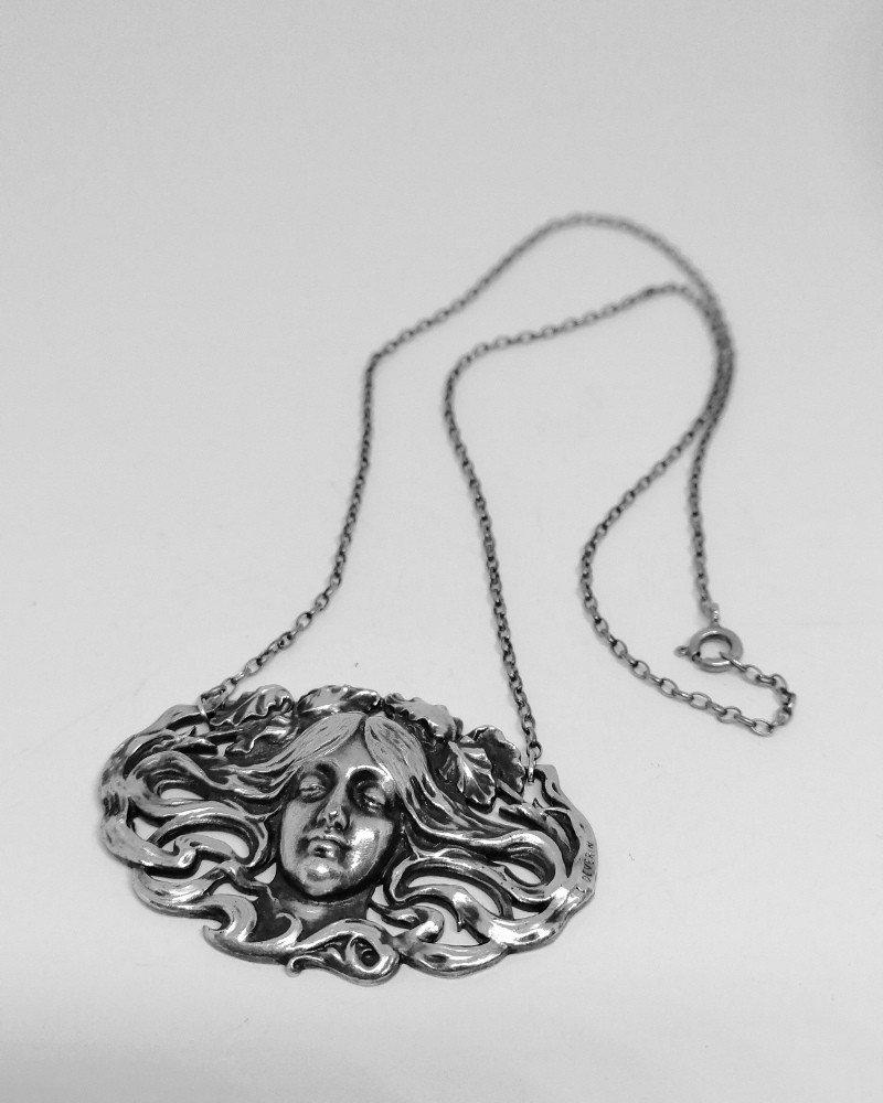 Collier Typique De l'Art Nouveau, Signé, Avec Visage Et Cheveux Ondulants.-photo-2