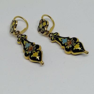 Enamelled Dangling Earrings.