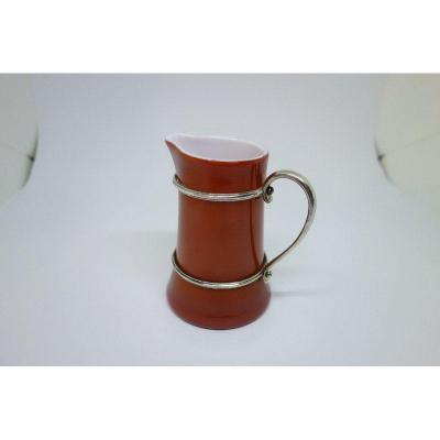 Small Opaline And Silver Milk Jug.